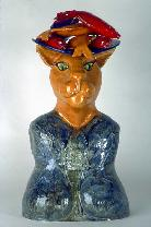 Large Ceramic Sculpture anthropomorphic cat with platter of fish on head