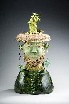 Ceramic sculpture of earth god with tree spirit on head