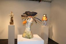 Ceramic sculpture A New Beginning- Eagle with drawing & paintings of state parks & Yosemite