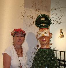 Ceramic sculpture of Two Faced Gallery at John Natsoulas Gallery with artist Antonia Tuppy Lawson