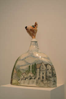 Ceramic sculpture French country mouse with colored pencil drawing of french village scene