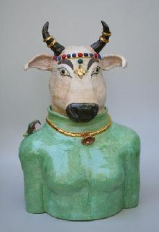 ceramic sculpture of holy cow