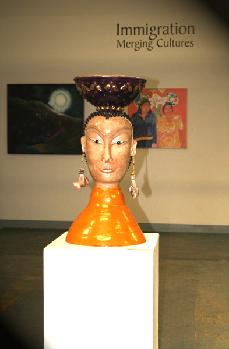 ceramic sculpture inspired by buddha at napa fine art expo