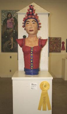 "Ceramic sculpture od mountain deity wearing wedding hat ""Immigration & Merging Culture Show"""