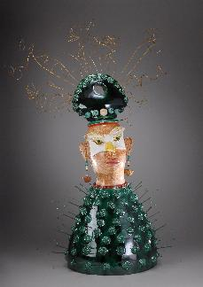 Ceramic Sculpture of Two Faced  Gweilo with elaborate headdresses, inspired by growing up in Hong Kong, created by ceramic sculptor Antonia Lawson