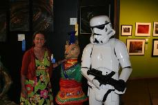 Ceramic sculpture of Yunan Goli-Cat with Storm Trooper at Marin County Fair Opening Gala